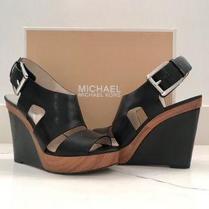 Michael Kors Carla Platform Wedge, Black Leather